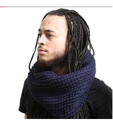 Navy Blue Chunky Knitted Loop Scarf Twist Front