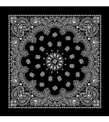 BLACK and WHITE round western paisley bandana scarf