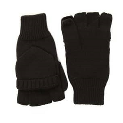 Mens or Unisex Finglerless Gloved with Mitten Flap Black