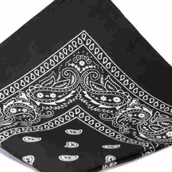 Bandana scarf BLACK with WHITE Classic paisley pattern 22 inch